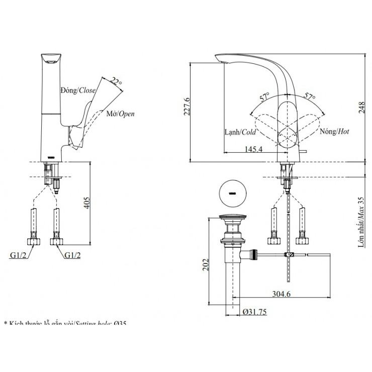 Vòi Lavabo TOTO TLG01309B Nóng Lạnh Cổ Cao