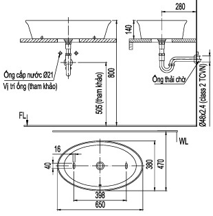 Bản vẽ bồn rửa mặt lavabo INAX L300V