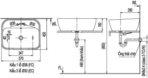Bản vẽ bồn rửa mặt lavabo INAX L296V