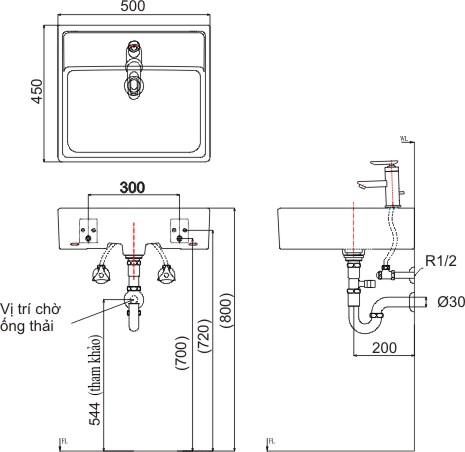 Bản vẽ bồn rửa mặt lavabo INAX L293V