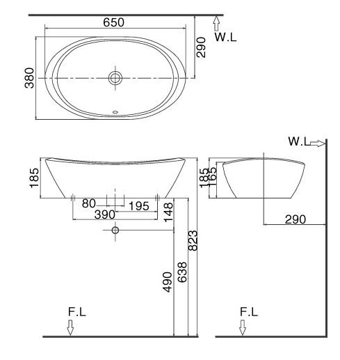 Bản vẽ bồn rửa mặt lavabo INAX L465V