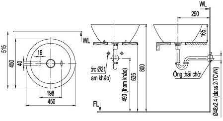 Bản vẽ bồn rửa mặt lavabo INAX L445V
