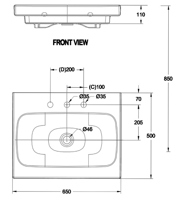 Bản vẽ kỹ thuật lavabo american WP-F635