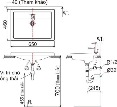 Bản vẽ bồn rửa mặt lavabo INAX L2397V