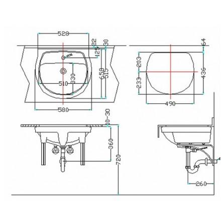 Bản vẽ bồn rửa mặt lavabo Inax AL20948V