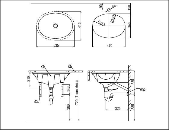 Bản vẽ bồn rửa mặt lavabo INAX L2293V