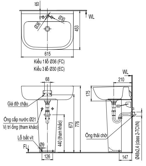 Bản vẽ bồn rửa mặt lavabo INAX L298V kèm chân L298VD
