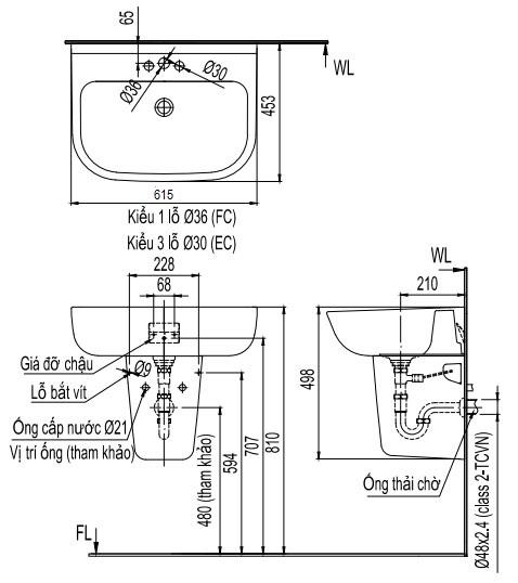 Bản vẽ bồn rửa mặt lavabo INAX L298V kèm chân L298VC