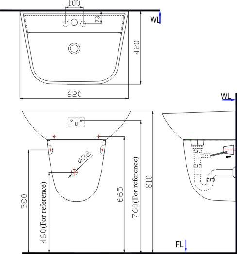 Bản vẽ bồn rửa mặt lavabo INAX L287V kèm chân L287VC