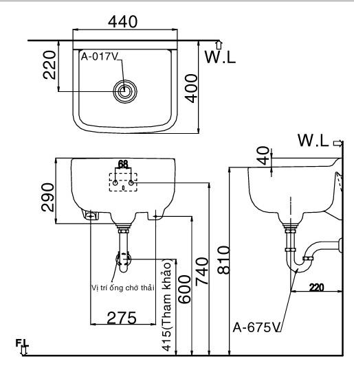 Bản vẽ bồn rửa mặt đa năng lavabo INAX S17V