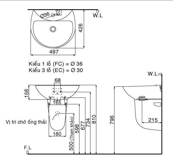 Bản vẽ bồn rửa mặt lavabo INAX L285V kèm chân L288VC