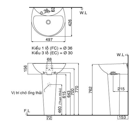 Bản vẽ bồn rửa mặt lavabo INAX L285V kèm chân L288VD