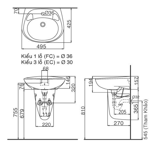 Bản vẽ bồn rửa mặt lavabo INAX L284V kèm chân L284VC