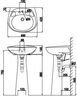 Bản vẽ bồn rửa mặt lavabo INAX L284V kèm chân L284VD