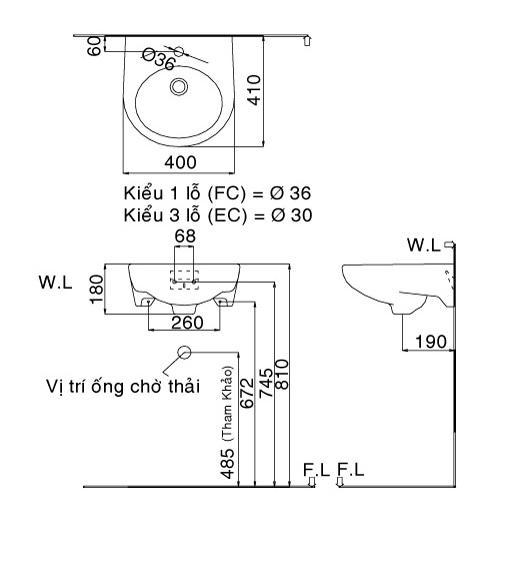 Bản vẽ bồn rửa mặt lavabo INAX L282V