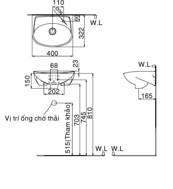 Bản vẽ bồn rửa mặt lavabo INAX L280V