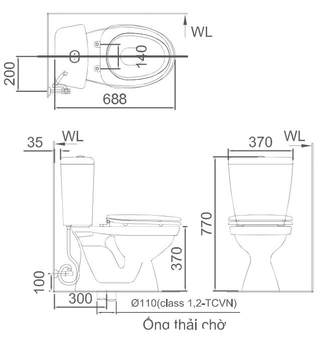 Bản vẽ bồn cầu Inax C-108VA - Xí bệt bàn cầu vệ sinh 2 khối nắp thường