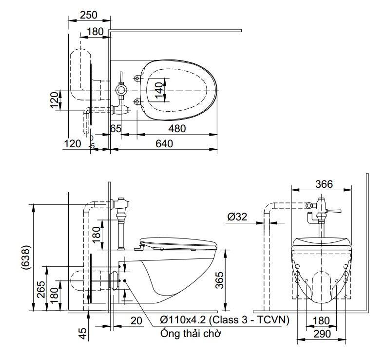 Bản vẽ bàn cầu AC-22PVN Inax thoát ngang