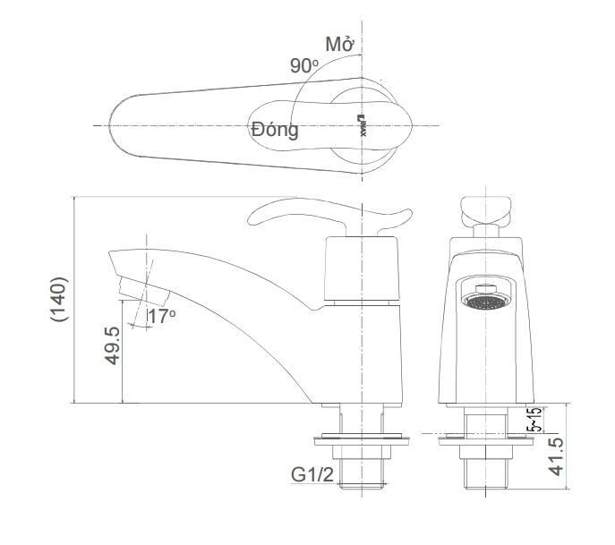 Bản vẽ kỹ thuật vòi lạnh inax LFV-11A