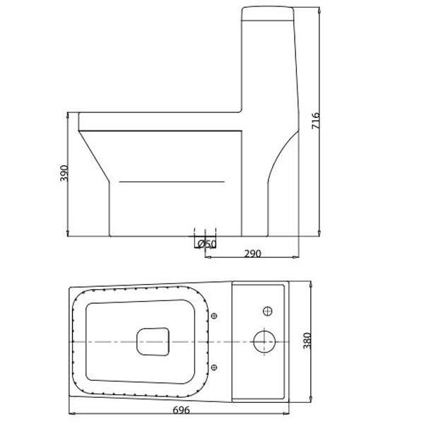 Bản vẽ bồn cầu Viglacera V42 - Xí bệt bàn cầu vệ sinh 1 khối