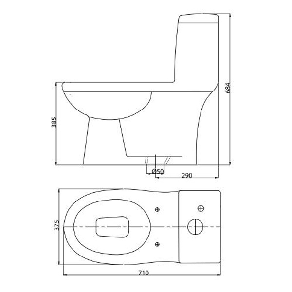 Bản vẽ bệ xí bệt BL5M Viglacera 1 khối nắp V37