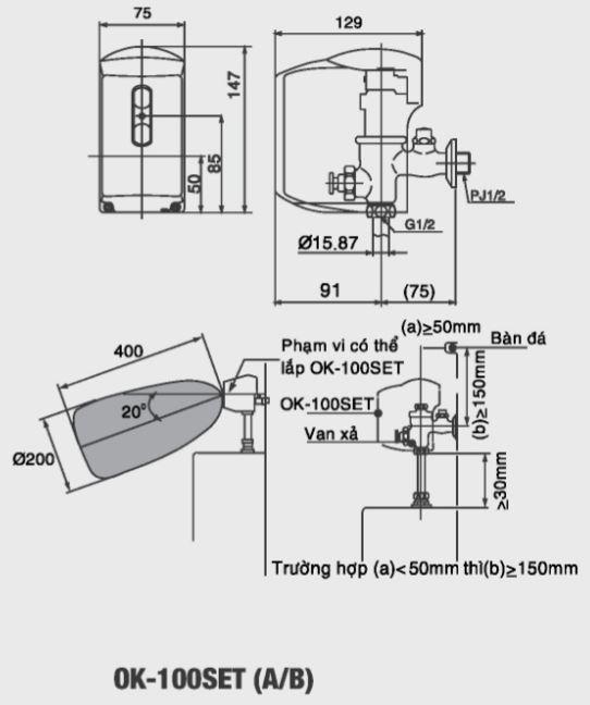 Bản vẽ kỹ thuật van xả tiểu cảm ứng INAX OK-1000SET(A/B)