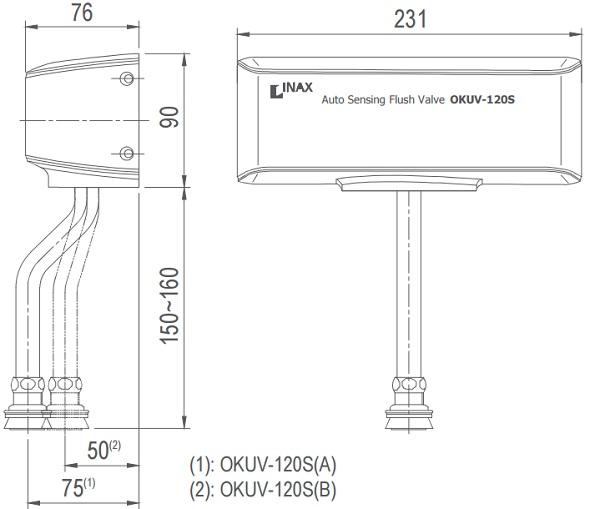 Bản vẽ kỹ thuật van xả tiểu cảm ứng INAX OKU-120S(A/B)
