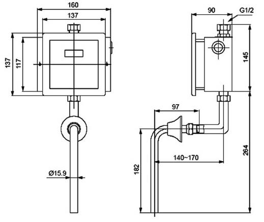 Bản vẽ kỹ thuật van xả tiểu cảm ứng INAX OKUV-32SM