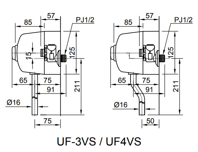 Bản vẽ kỹ thuật van xả tiểu nam INAX UF-3VS