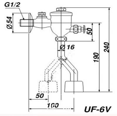 Bản vẽ kỹ thuật van xả tiểu nam INAX UF-6V