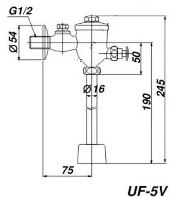 Bản vẽ kỹ thuật van xả nhấn INAX UF-5V
