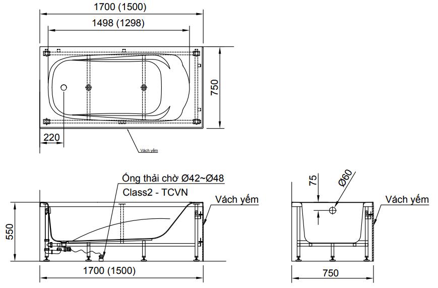 Bản vẽ kỹ thuật bồn tắm chân yếm INAX FBV-1502S