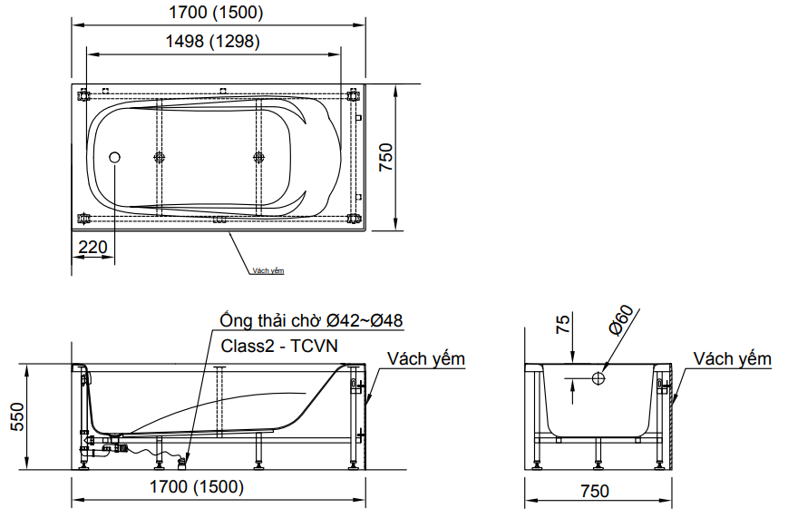 kích thước bồn tắm INAX FBV-1502S FBV-1502SR FBV-1502SL