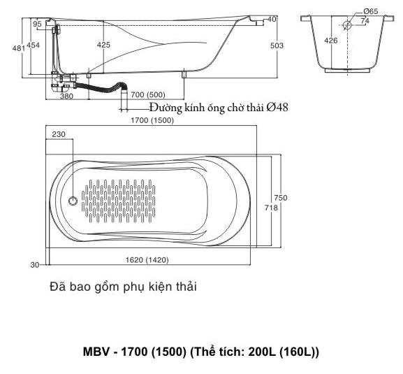 Bản vẽ kỹ thuật bồn tắm INAX MBV-1500