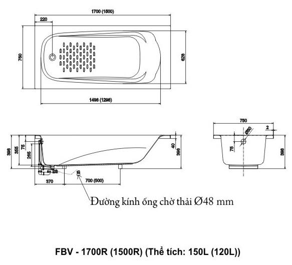 Bản vẽ kỹ thuật Bồn tắm INAX FBV-1700R