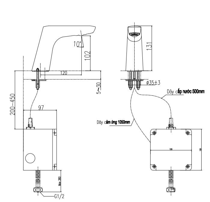 Bản vẽ kỹ thuật vòi nước tự động Inax AMV 50B
