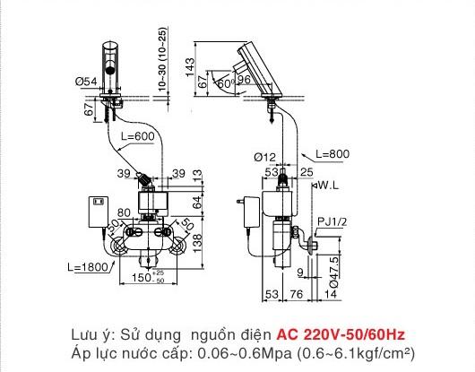 Bản vẽ kỹ thuật Vòi cảm ứng INAX AMV-90(220V)