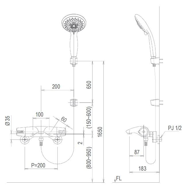 Bản vẽ kỹ thuật vòi sen tắm lạnh INAX BFV-5103T-3C