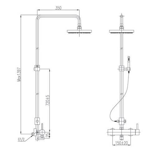 Bản vẽ kỹ thuật vòi cây sen tắm INAX BFV-70S