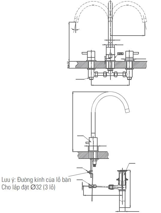 Bản vẽ kỹ thuật vòi Inax nóng lạnh LFV-7000B