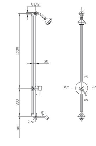 Bản vẽ kỹ thuật vòi sen tắm INAX BFV-28S