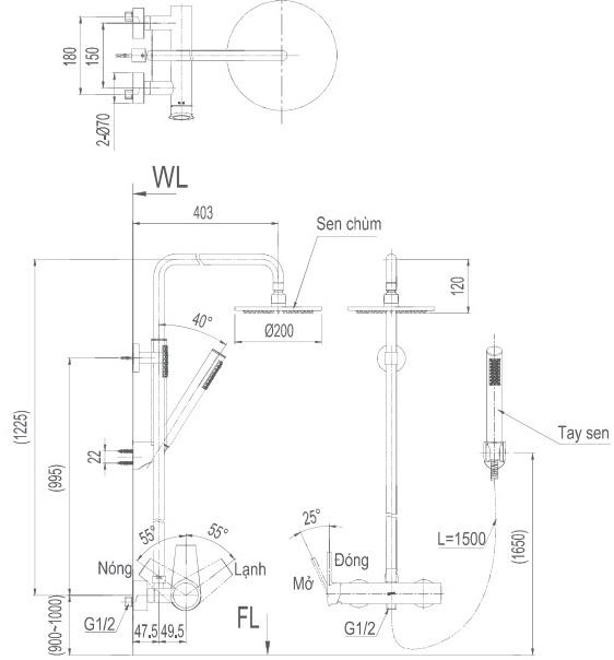 Bản vẽ kỹ thuật vòi cây sen tắm INAX BFV-71S