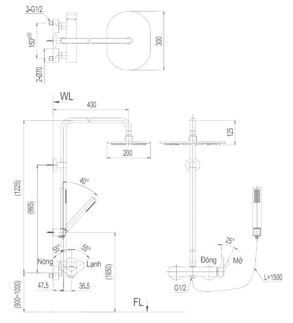 Bản vẽ kỹ thuật vòi cây sen tắm INAX BFV-60S