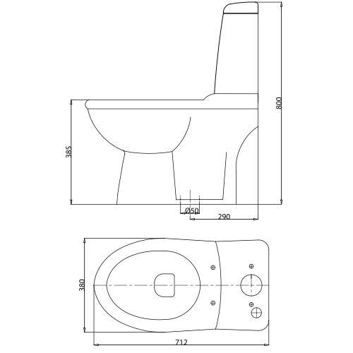 Bản vẽ bệ xí bệt VI107 Viglacera 2 khối