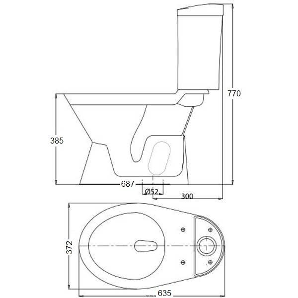 Bản vẽ bệ xí bệt VI66 Viglacera 2 khối