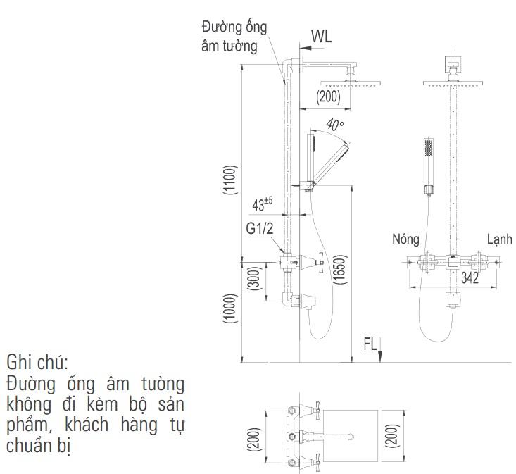 Bản vẽ kỹ thuật vòi sen tắm INAX BFV-81SEHC