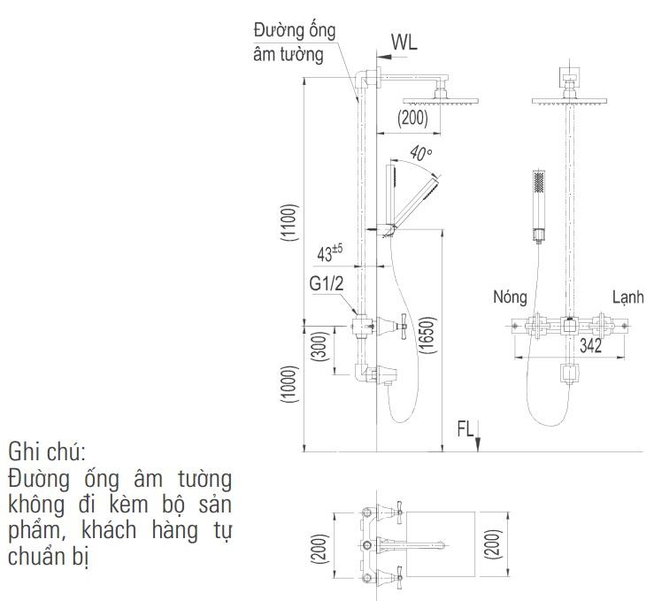 Bản vẽ kỹ thuật vòi sen tắm INAX BFV-81SEHW