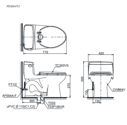 Bản vẽ bồn cầu TOTO MS864T2 - Xí bệt bàn cầu vệ sinh 2 khối nắp êm