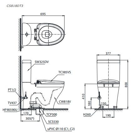 Bản vẽ bồn cầu TOTO CS818DT3 thùng nước S8180