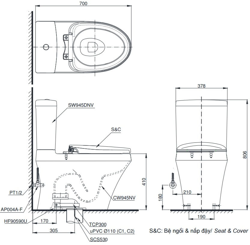 Bản vẽ bồn cầu TOTO CS945DNT3 thùng nước S9450